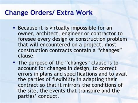 contract change clause the change order process ppt construction law presentation