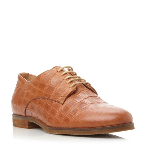 flat lace up shoes dune laboux leather toe flat lace up shoes in brown