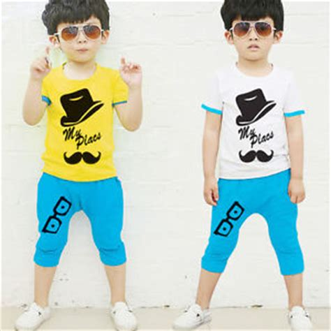 Sale Korean Boyset White Cola korean style baby boys mustache t shirt top shorts 2pcs set summer clothes ebay