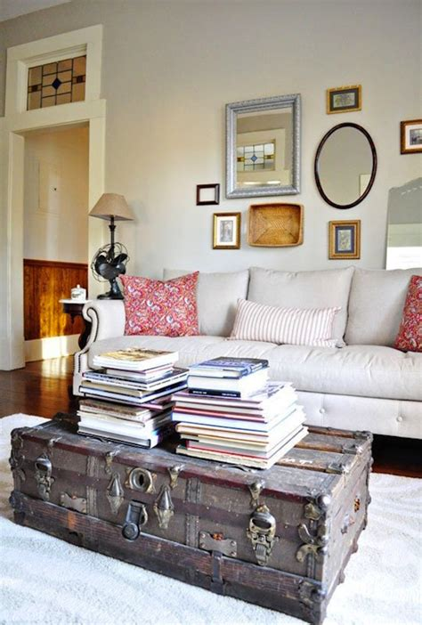 living room trunk old trunk coffee table brings some rustic charm to a