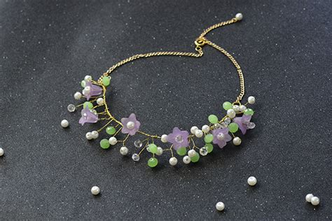 how to make a beaded flower necklace wire wrapped beaded flower necklace family crafts