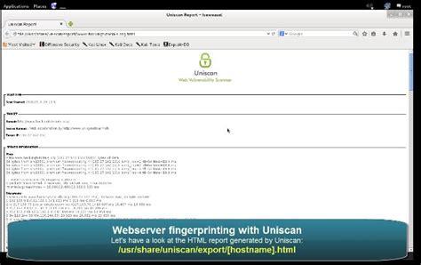 tutorial hack web server webserver fingerprinting with uniscan in kali linux