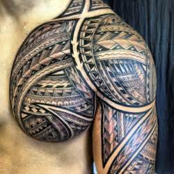 Polynesian chest tattoo 50
