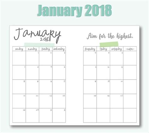printable planner 2018 a5 free printable a5 2018 monthly calendars live craft eat