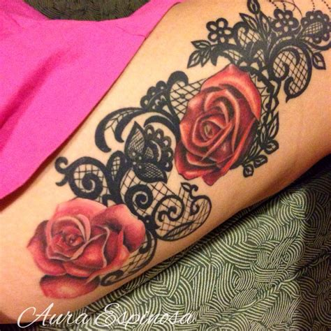 lace rose tattoo lace with roses done by our plenty images