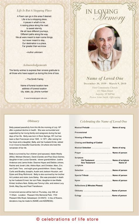 memorial handout template 22 best images about memories on program