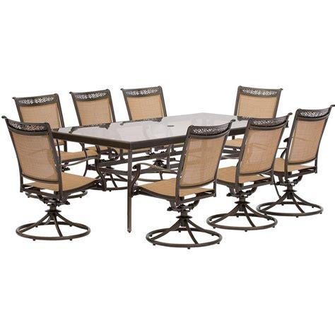 7 swivel chair patio set hanover fontana 9 aluminum rectangular outdoor