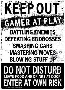 Cool Wall Stickers For Bedrooms keep out gamer at play enter at own risk novelty tin sign