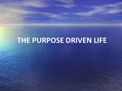 the purpose driven life the purpose driven life