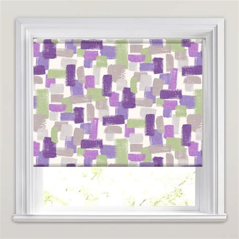 green and purple l shade impressionist brushstrokes roller blinds in purple lilac