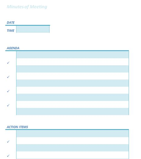 Simple Minutes Template by Informal Meeting Minutes Template Images