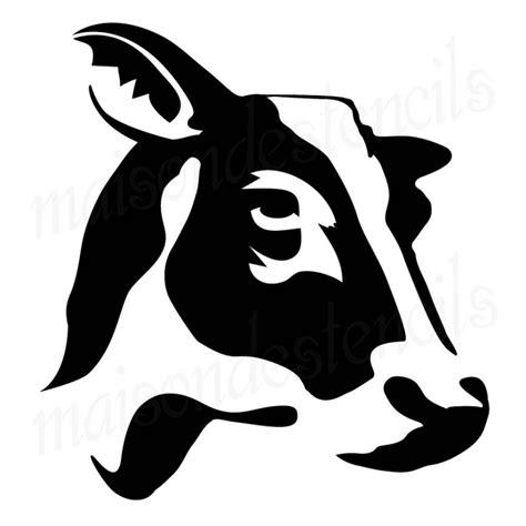 scow head cow head silhouette profile 12x12 stencil