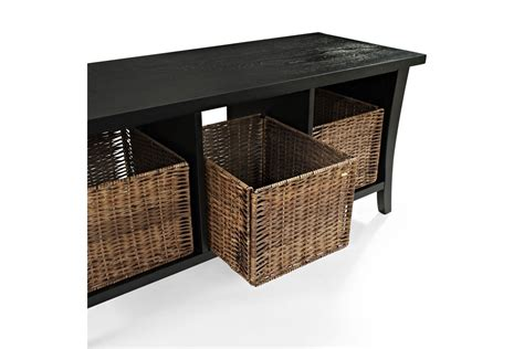black entry bench with storage wallis entryway storage bench in black by crosley at