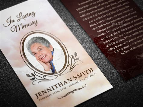 in memory cards templates loving memory funeral prayer card template by