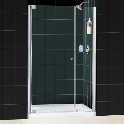 Acrylic Shower Doors Dreamline Elegance 36 In X 48 In X 74 75 In Semi Framed Pivot Shower Door In Chrome With