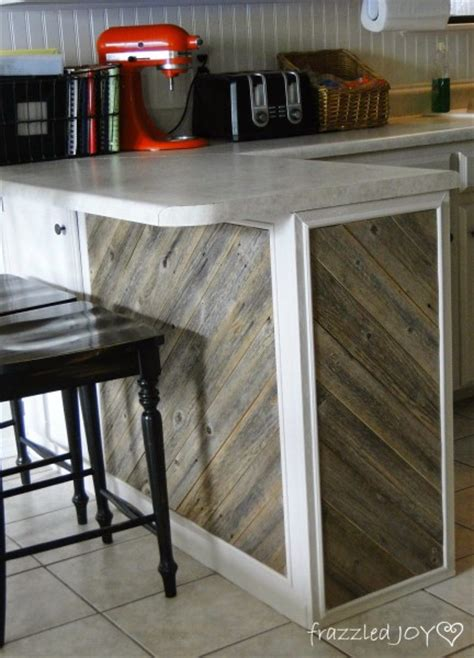 update a plain kitchen island or peninsula with planks and remodelaholic update a plain kitchen island or peninsula
