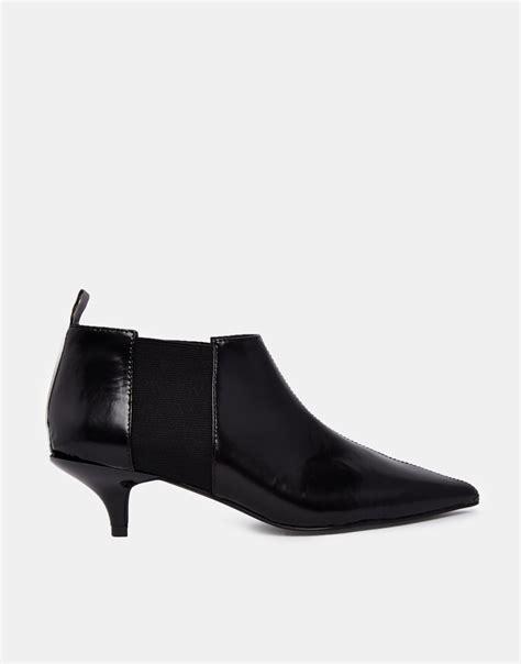 cheap black boots cheap monday bat black kitten heel boots in black lyst
