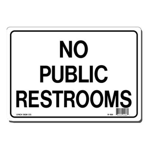 bathroom for customers only sign lynch sign 10 in x 7 in black on white plastic no public