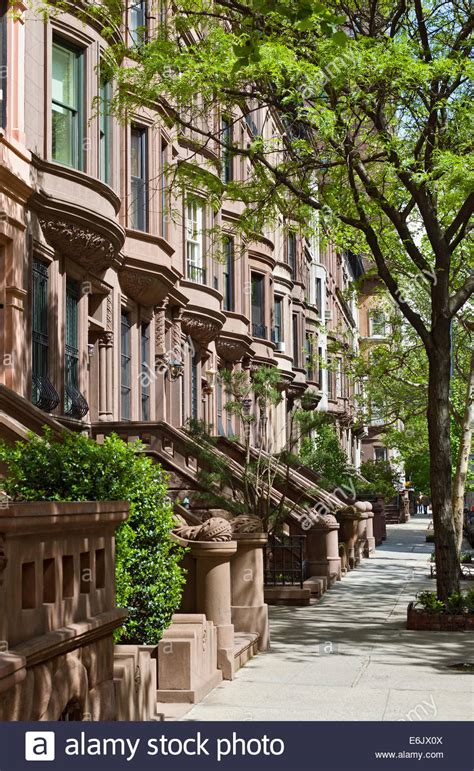 brownstone house nyc brownstone apartment houses buildings residences on the upper west stock photo