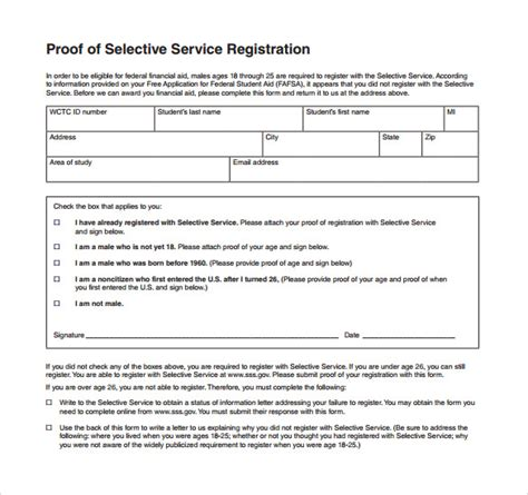 Exle Letter To Selective Service Sle Selective Service Registration Form 13 Free Documents In Pdf Word