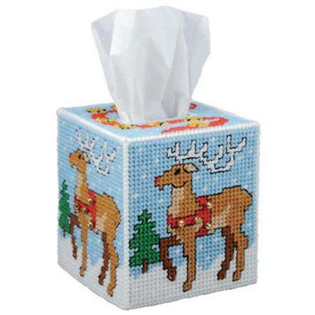 Inc Tissue Cover craftways reindeer tissue box cover plastic canvas kit