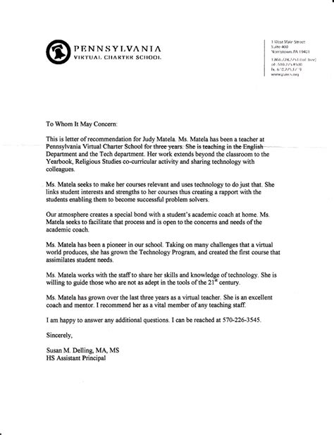 Letter To Principal letter of recommendation for principal recommendation letter