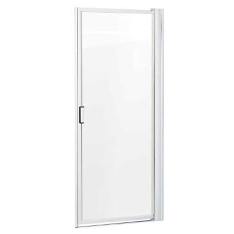 23 Shower Door 23 24 In X 63 1 2 In Framed Pivot Shower Door In Satin