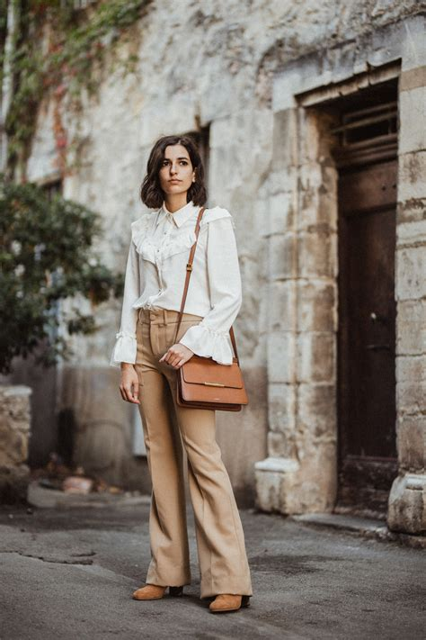 5 Vintage Style Inspirations by A Vintage Inspired Blouse And Beige Flare Trousers