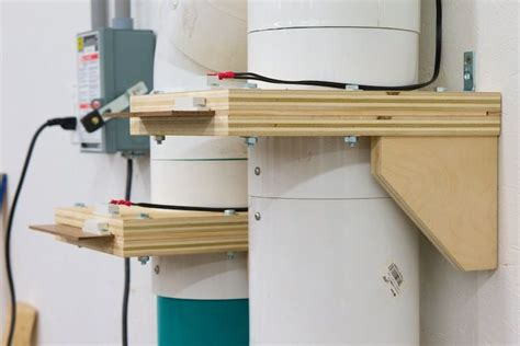woodworking dust collection system design shop made blast gates that start the cyclone when opened