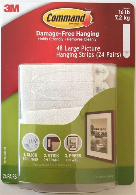 command large picture hanging strips white 12 sets of 3m command large picture hanging strips 24 pairs sets 48