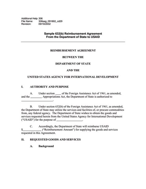 reimbursement agreement template ads reference 306sag u s agency for international