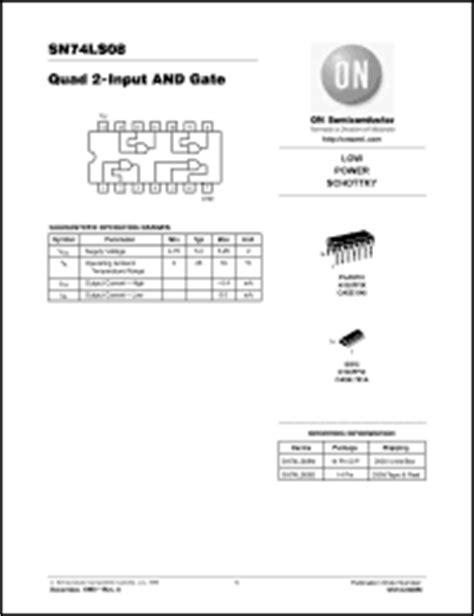 datasheet digital integrated circuits 74 series on semiconductor 74ls08 series datasheets sn74ls08 74ls08 datasheet