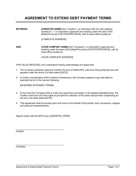terms of agreement contract template agreement to extend debt payment terms template sle