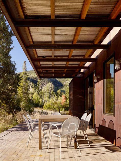 hip roof construction  modern patio  brick corten