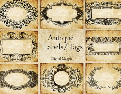 printable victorian tags antique labels printable digital download collage sheet 2 5 x