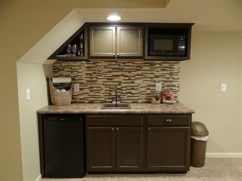 Basement Bar Cabinet Ideas Basement Bar Stairs Used Stock Cabinets And Countertop From Lowes Painted In