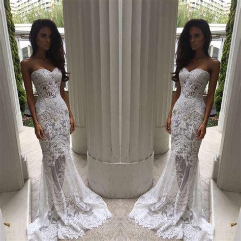 modern sweetheart lace appliques prom dress 2018 mermaid