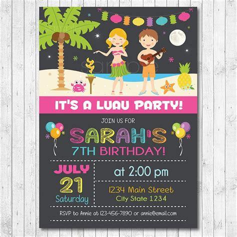 Printable Luau Birthday Invitations