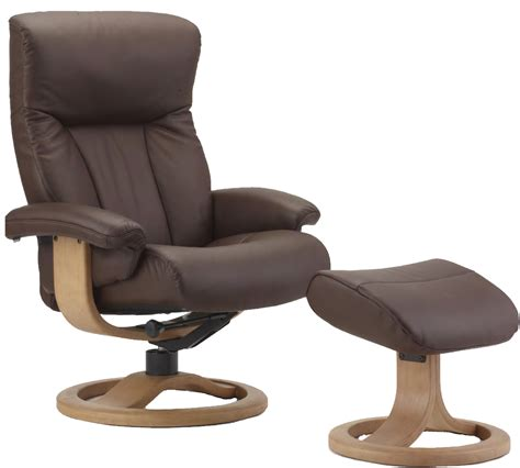 Scandinavian Recliner by Fjords Scandic Ergonomic Leather Recliner Chair Ottoman