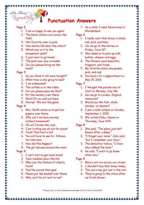 Punctuation Worksheets Grade 8 by All Worksheets 187 Grade 7 Punctuation Worksheets