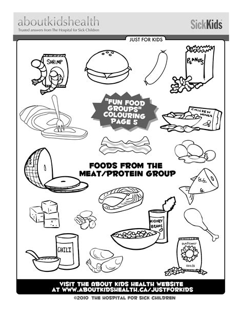 preschool coloring pages nutrition foods from the meat and protein food group great