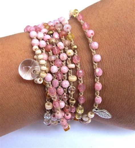 crochet beaded wrap bracelet necklace quot petals quot pink