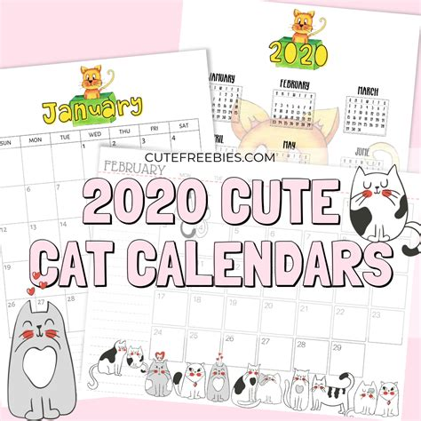 printable cat calendar    cat printables cute freebies
