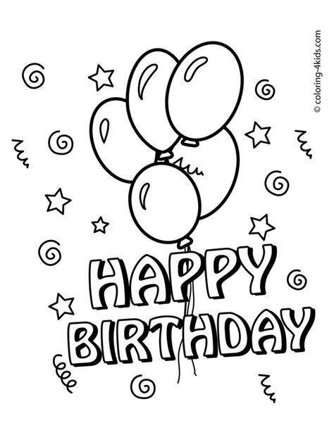free coloring pages happy birthday printable happy birthday coloring pages with balloons for kids