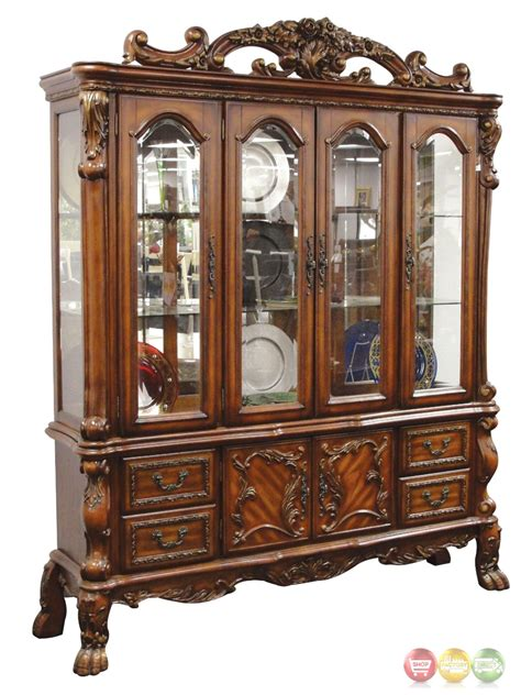 cherry wood china cabinet dresden carved wood antique style lighted china cabinet in