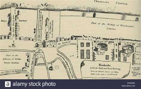 globe theatre maps map of bankside in southwark during the time of