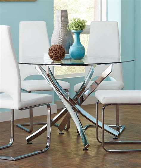 Coaster Augustin Round Glass Dining Table Chrome 106441 Coaster Glass Dining Table