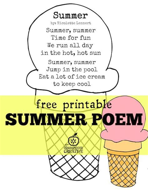 printable children s poems summer poem free printable kindergarten summer school