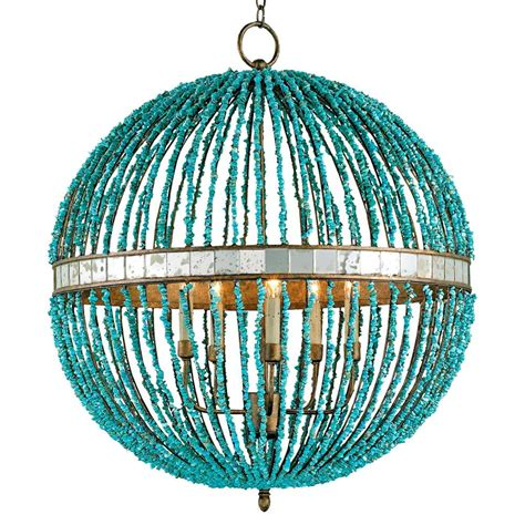 Lorenz Contemporary Turquoise Beaded 5 Light Orb Pendant Turquoise Lights