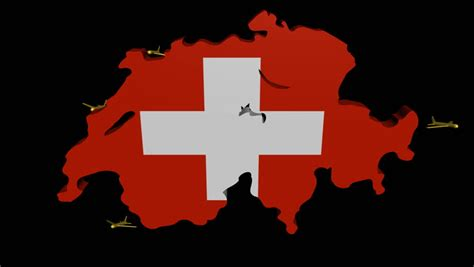 mapping design history in switzerland books planes departing switzerland map flag animation stock
